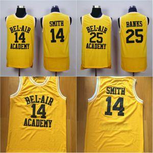 Mens # 14 BEL-AIR Academy 저지 # 25 CARLTON BANKS 100 % 스티치 농구 유니폼 옐로우 고품질
