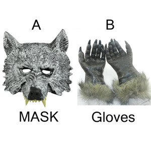 Free-Party Freight Party Party per Halloween Latex Rubber Full Face Wolf Mask e 1 Wolf Guanti Free Size H-012-1