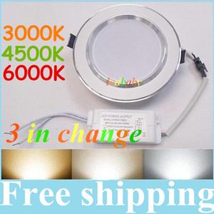 9W 12W 15W 18W 20W регулируемая цветовая температура LED Downlights (теплый / естественный / холодный белый) 3 цвета меняются в 1 единицу светодиодные фонари AC85-265V