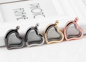 الجملة 10 قطعة / الوحدة 5 ألوان عادي القلب الزجاج العائم المنجد قلادة لصنع سلسلة قلادة