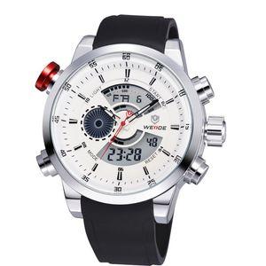 Relojes de pulsera WEIDE para hombres, marca famosa, correa de caucho, buzo, hora impermeable, artículo, relojes militares analógicos digitales deportivos para hombres 3401