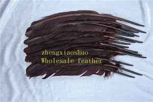 100 unids 12-14 pulgadas (30-35 cm) marrón oscuro pluma de ganso de Ronda pluma de Ganso fuente de eventos de eventos decoración festiva decoración
