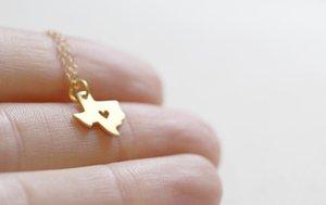 30PCS- N058 Kontur Staat Texas-Halskette mit Herz USA TX Staat Halskette I Herz Liebe Karte Texas Halsketten Geographie Halskette