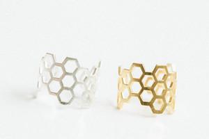 Spedizione gratuita Molto esagono anello regolabile, anelli a nido d'ape Gioielli per le donne Anello dito all'ingrosso
