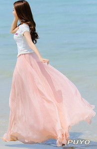 Wholesale- New Summer Maxi Long Bohemian Restore Women's Shinning Chiffon Skirt 7Colors Long 14283