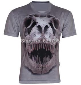 W1209 Hip Hop Dinosaurier Skelett gedruckt Männer cool 3D T-Shirt, Sommer Kurzarm dünnes T-Shirt S-6XL, D02, plus Größe