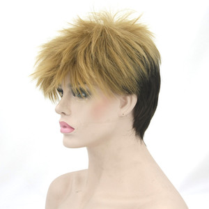 hanzi_beauty Short High Temperature Fiber Synthetic Hair Cosplay Wigs Black Mix Brown Wig for Men and Women Peruca