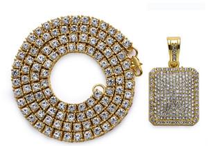 Collana a catena con strass rotondi di fila con gioielli di moda hip hop in argento CZ Stone Stone