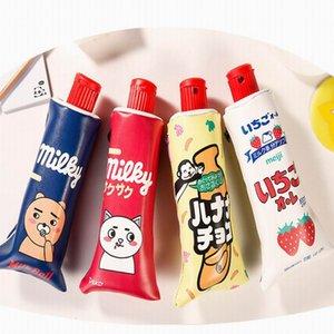 Zahnpasta-Bleistiftbeutel PU-Leder Großer Milchflaschen-Stiftkasten mit Bleistiftspitzer Kawaii Briefpapier Schulbedarf
