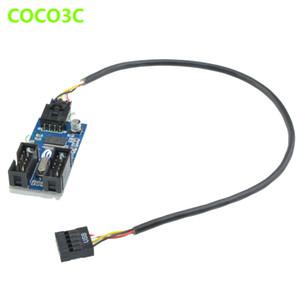 Freeshipping cabezal USB 9Pin a doble 9pin hembra cable de extensión 9 pines 1 a 2 puerto multiplicador tarjeta HUB
