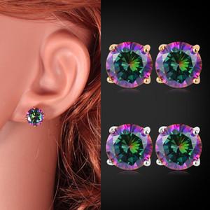 Hot Square / Round Cut Multicolore Arc-en-ciel Cubic Zirconia 18K Réel Or Plaqué Platine Brillant Belle Boucles d'oreilles