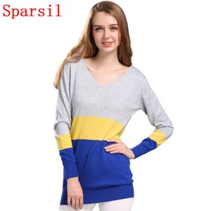 Gros-Sparsil Femmes Automne Cachemire Mélange Pulls V-Neck Long Tricoté Chandails Patchwork Full Sleeve Knitwear