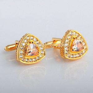 Gemelos de piedra de circón de oro de 18 quilates Gema de cristal de gema de diamantes de imitación Gemelos de regalo de boda de alta calidad Gemelos de corazón para camisa de hombre JSB023