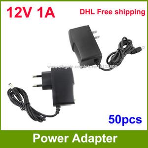 Alta Qualidade 50 pcs AC 100 V ~ 240 V para DC fonte de Alimentação 12 V 1A adaptador adaptador EUA / UE-UE Plug DHL Frete grátis
