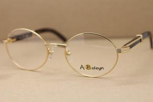 الجملة جولة العين النظارات 7550178 الأسود بافالو القرن نظارات نظارات الرجال شحن مجاني النظارات الذهب إطارات حجم الإطار: 55-22-135mm