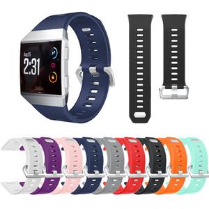 10 가지 색상 Fitbit Ionic 스마트 액세서리 용 TPU 시계 밴드 Fitbit Ionic Stainless Stainless Steel 금속 걸쇠가 달린 실리콘 스포츠 스트랩