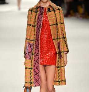 Single Button Gird Women Coat Elegant Turn Down Collar Trench 5111584E