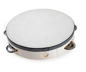 90 pcs chegam novas Brinquedo Instrumento Musical Tambourine 6 polegada Tambor de Tambor de Tambor de Madeira Sino De Metal Bétulas Jingles Brinquedo Musical para a Festa KTV D126