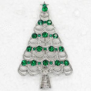 도매 12piece / lot 녹색 크리스탈 라인 석 크리스마스 트리 핀 브로치 크리스마스 선물 브로치 쥬얼리 C255 남