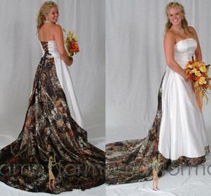 Novia blanca Camo vestidos de boda con cordones de la parte posterior del corsé camuflaje del bosque de impresión ancha una línea de vestidos de novia Vestidos de novia capilla tren satinado