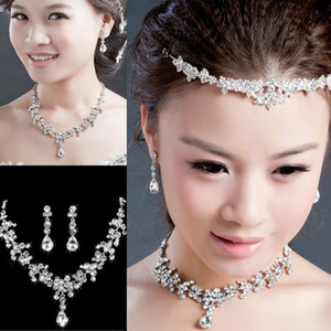 2020 In Stock Crystal Bridal Jewelry Set Drop plated necklace earrings Wedding jewelry sets for bride Bridesmaids women Bridal Accessories