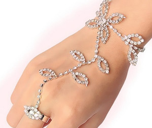 1PC Rhinestone Bridal Four-Leaf Clover Crystal Rhinestone Hand Chain Bracelet Slave Finger Ring