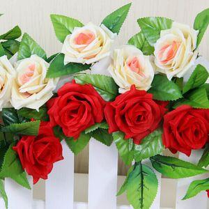 Wholesale- Artificial Rose Garland Silk Flower Vine Ivy Home Wedding Garden Floral Decor Wall Mounted beautiful romantic