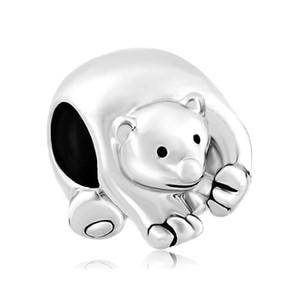 En gros et au détail en argent rhodié Placage de couleur mignon POLAR ICE BEAR perle charme Fit Pandora bracelet européen de bricolage