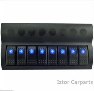 도매 -8 갱 12v / 24v 블루 LED 자동차 해양 보트 로커 스위치 패널 회로 차단기 오버로드 보호