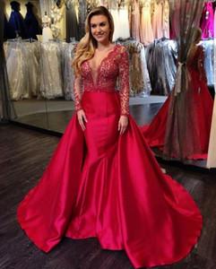 2020 Nouveau Superbe soirée Sheer Satin Dentelle Rouge Robes formelles Illusion de haute qualité 2021 à manches longues col en V Sexy Prom Party Robes 415
