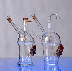 2015 nuevo Cheech Glass Honey Cup con un par de tortugas Oil Rig bongs de vidrio mini vidrio Hookah glass water pipe Starbuck Cup tubo de vidrio
