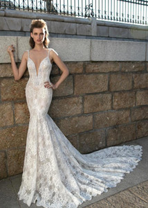 Sexy Backless Pearls Full Lace sirena vestidos de novia 2016 escote profundo Sweep Train vestidos de novia árabe vestidos de novia 2015 BA1909