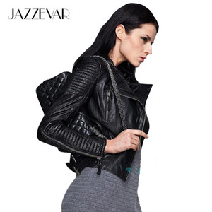 Wholesale- Genuine Leather JAZZEVAR autumn high Fashion street  style Women real Leather Short Motorcycle Jacket Outerwear top quality