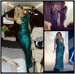 2015 Beyonce Brit Ödülleri Payetli Yeşil Ünlü Elbise Vestidos Abiye Uzun Kollu