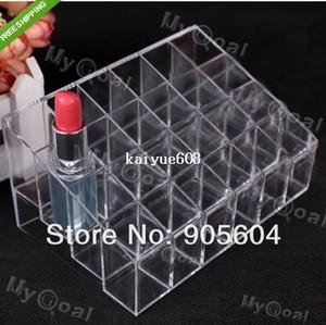 Práctico Clear Acrylic Cosmetic 24 Maquillaje Lipstick Storage Display Stand Case Rack Holder Organizador Estuche de maquillaje