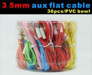 3,5-mm-Aux-Flachkabel-Audiokabel mit PVC-Schale Fall für Lautsprecher-Gerät anschließen Mobil 1 Meter bunt