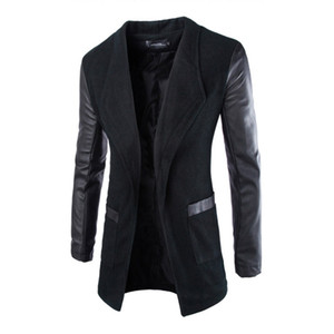 Wholesale- Mens Jacket Blazer Trench Faux Leather Splice Open Stitch Coat Overcoat Outwear New Arrival 0783