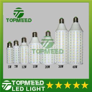 DHL بقيادة الذرة ضوء E27 E14 B22 SMD5050 85-265V 5W 7W 12W 15W 20W 30W 40W LED لمبة 360 درجة الإضاءة مصباح 20