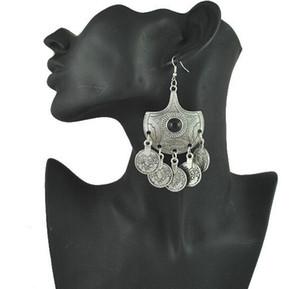 القبلية بيان عملة أقراط مجوهرات العرقية خمر الفضة الكبيرة الأسود الخرز إسقاط أقراط الغجر عملة القرط