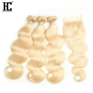 Mejor venta # 613 Blond Human Hair Bundle Lace Closure 8A Mink Brazilian Hair 3 Bundles Onda del cuerpo con encaje Cloaure Bundles con cierre