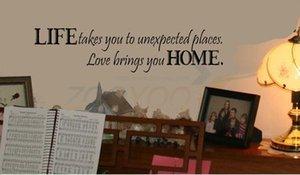 La vita ti porta in luoghi inaspettati citazione wall sticker ZooYoo8081 casa decorativi rimovibili in vinile muro sticke