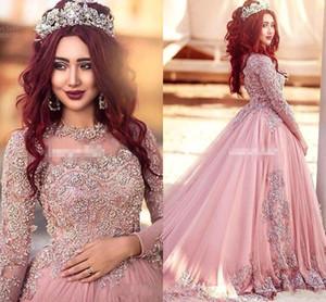 2018 Arabisch Dubai Long Sleeves Abendkleider Elegante Prom Kleider Mit Pailletten Roter Teppich Runway Kleider Formale Abendkleider Benutzerdefinierte