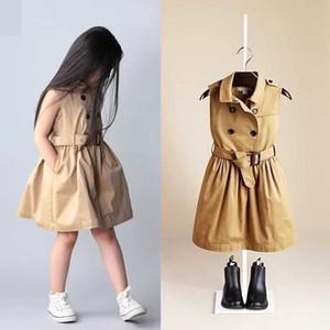 New Spring Summer Girls vestido trespassado mangas Vest Vestido Europa Moda Crianças Crianças Princesa plissada Vestidos com cinto 10802