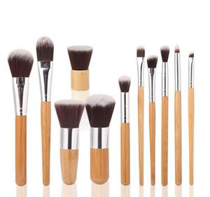 Pinceles de maquillaje Pinceles de maquillaje 11 unids Professional Cosmetic Brush Kit Fibra de pelo con Draw String Bag Eyeshadow Foundation Shade Tools