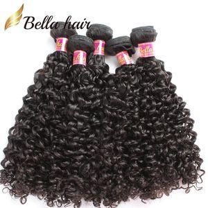 Bellahair 100% de Vierge Extensions de cheveux Tissages cheveux bouclés vague Trames Malaisie cheveux Bundles Double Non traité Trame 3PCS