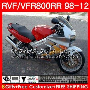 VFR800 Pour HONDA Interceptor rouge Argent VFR800RR 98 99 00 01 02 03 04 12 90NO50 VFR 800 RR 1998 1999 2000 2001 2002 2003 2004 2012 Carénage