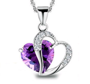 Amethyst Necklace Fashion Elegant Crystal Rhinestone Peach Heart Pendant Necklace Copper Jewelry Design for Women Factory price