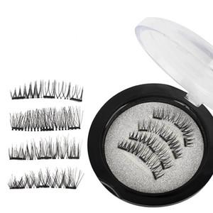 Magnetische falsche Wimpern 3D Mink Lashes Wiederverwendbare drei / Dual Magnete Wimper-Verlängerungs-3D Wimper Vollstreifen Extensions Magnetic-Augen-Peitsche
