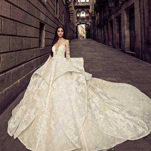 Foto reali Abiti da sposa Arabo Dubai Tulle Abito da sposa Bianco Pizzo Applique Ball Gown Abiti da sposa 2018 Gonne a strati vestido de Novia