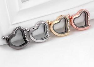 Gros 10PCS / lot demi strass coeur coeur en verre à mémoire magnétique charme flottant médaillon pendentif